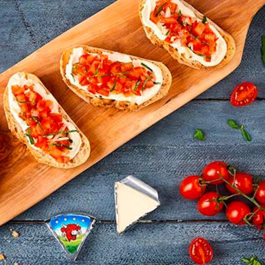 Bruschetta tomates fraîches et basilic